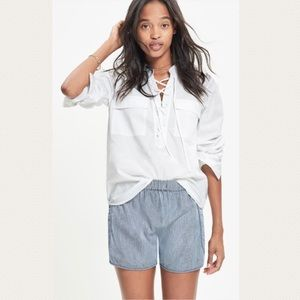Madewell Terrace Lace Up White Cotton Shirt